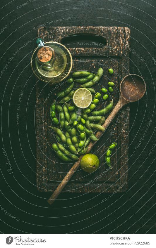 Grüne Edamame Sojabohnen Lebensmittel Gemüse Ernährung Bioprodukte Vegetarische Ernährung Diät Geschirr Stil Design Gesunde Ernährung Tisch Kochlöffel Chinese