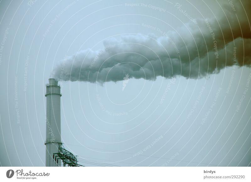 Dreckschleuder dunkel grau hoch Energie Zukunft bedrohlich Industrie Rauchen Zerstörung Schornstein Umweltverschmutzung hässlich Industrieanlage intensiv