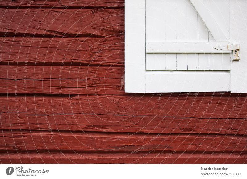 Alte Häuser | Schwedisch Haus Hütte Architektur Fassade Fenster Holz Linie Häusliches Leben alt authentisch rot weiß Nostalgie Sicherheit stagnierend Tradition