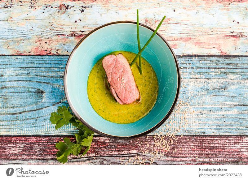 Rosa Rehrücken mit Erbsen Orangen Sauce Gesunde Ernährung Lebensmittel gelb rosa modern Wildfleisch Schalen & Schüsseln türkis Teller Leichtigkeit Abendessen