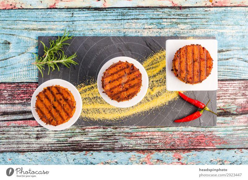 Gemüsebratlinge von oben auf Schieferteller Lebensmittel Getreide Ernährung Mittagessen Abendessen Büffet Brunch Festessen Picknick Vegetarische Ernährung