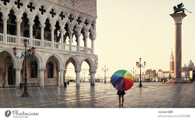 When I was happy. Kunst ästhetisch Regenschirm mehrfarbig Farbfleck Kreativität Idee regenbogenfarben Venedig Kunstwerk Laterne San Marco Basilica Platz