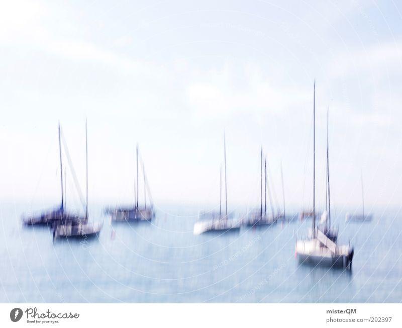 traumhaft. Himmel (Jenseits) Meer Kunst Wasserfahrzeug Idylle ästhetisch Hafen Schifffahrt Segeln Kunstwerk Segelboot Meerwasser Urlaubsstimmung abstrakt Licht