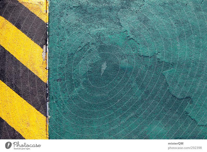 Attention! Kunst ästhetisch Symmetrie graphisch bedrohlich Risiko Hinweis Hinweisschild Fahrbahnmarkierung Straßenbelag gestreift gelb schwarz bläulich