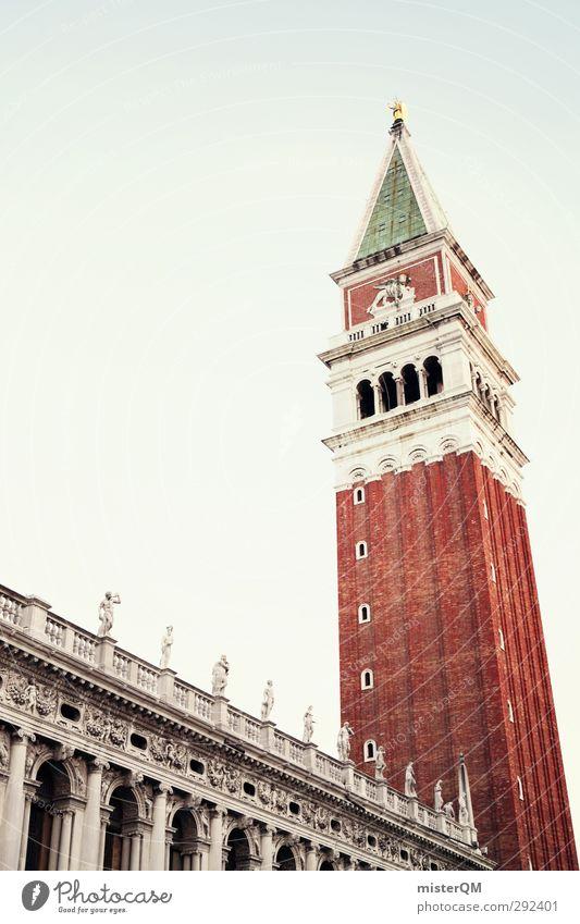 The Bigger One. Kunst ästhetisch Bauwerk Turm San Marco Basilica Campanile San Marco Backstein ziegelrot Ziegelbauweise Venedig Italien Reisefotografie
