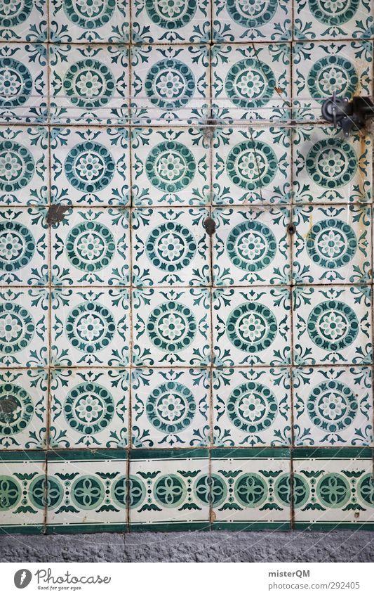 Kachelgrün. Kunst ästhetisch Fliesen u. Kacheln Muster Symmetrie Portugal Lissabon Quadrat Zierde Dekoration & Verzierung Wand Fassade altmodisch retro Stil