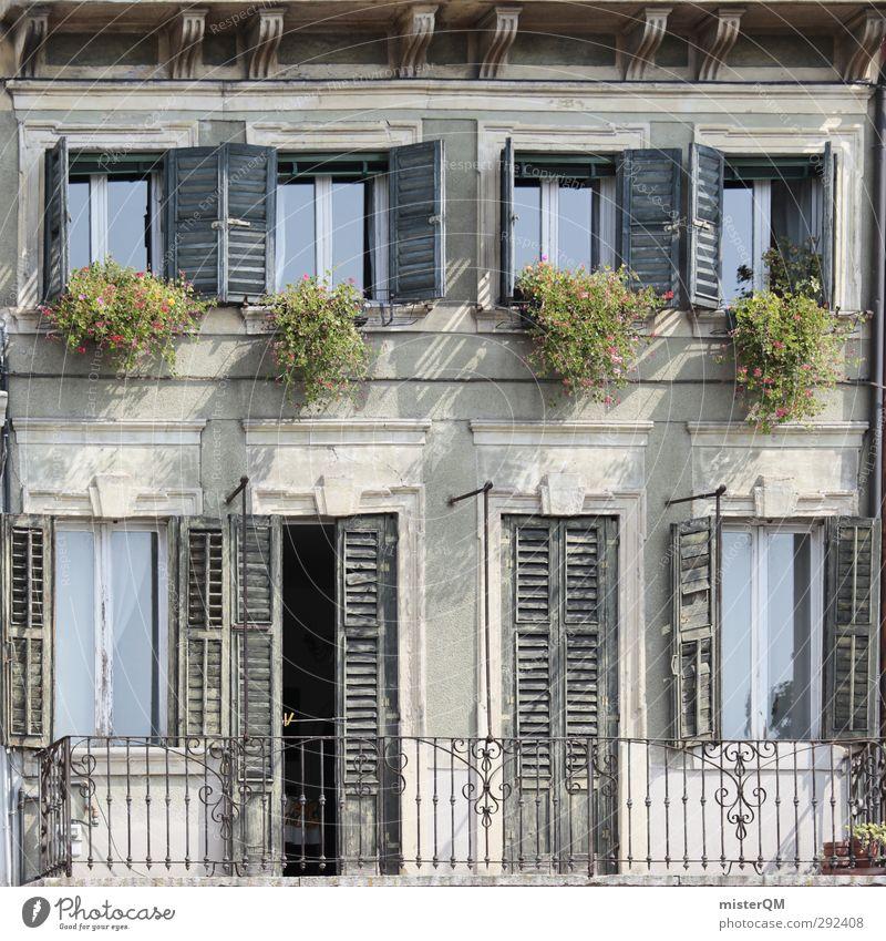 Italien im Quadrat. Autofenster Kunst Tür Fassade ästhetisch Italien verfallen Quadrat mediterran Landhaus Blumenkasten