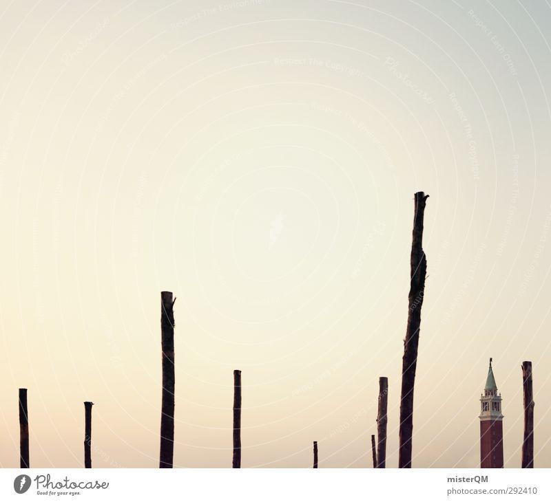 Venezianische Stäbe. Linie Kunst Zufriedenheit Idylle ästhetisch Turm Italien Hafen Sehenswürdigkeit Stock Venedig Stab verborgen Berühmte Bauten