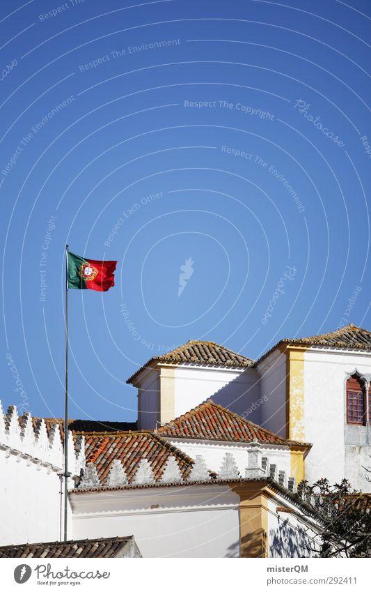 Portugal. Kunst ästhetisch Fahne wehen Lissabon Haus Kleinstadt Wappen Patriotismus Farbfoto Gedeckte Farben Außenaufnahme Experiment abstrakt Menschenleer