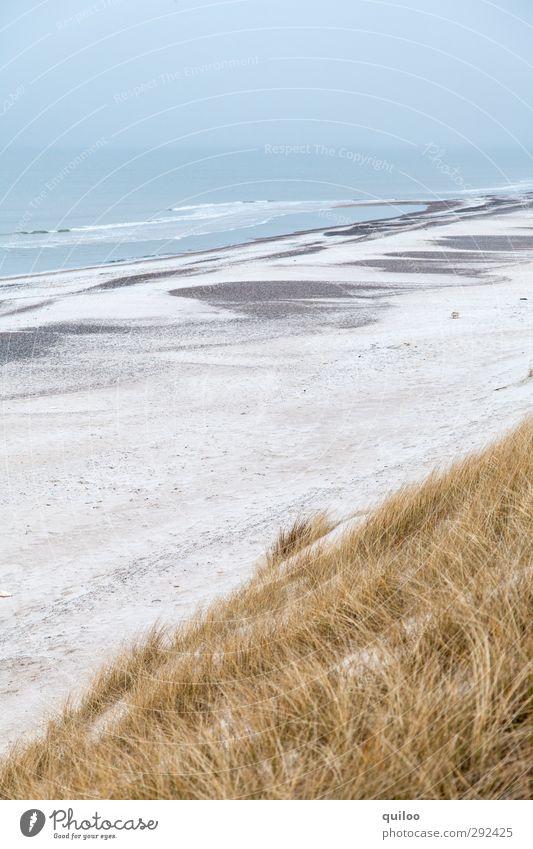 Küstenstreifen blau Ferien & Urlaub & Reisen schön weiß Meer Einsamkeit Strand Erholung gelb Ferne Gefühle oben Glück Freiheit grau