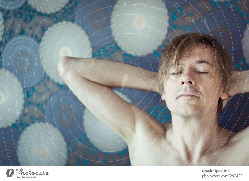 Molekulare Müdigkeit Mensch Mann blau ruhig nackt Erholung Erwachsene Erotik Gefühle Denken träumen natürlich blond schlafen Gelassenheit Tapete