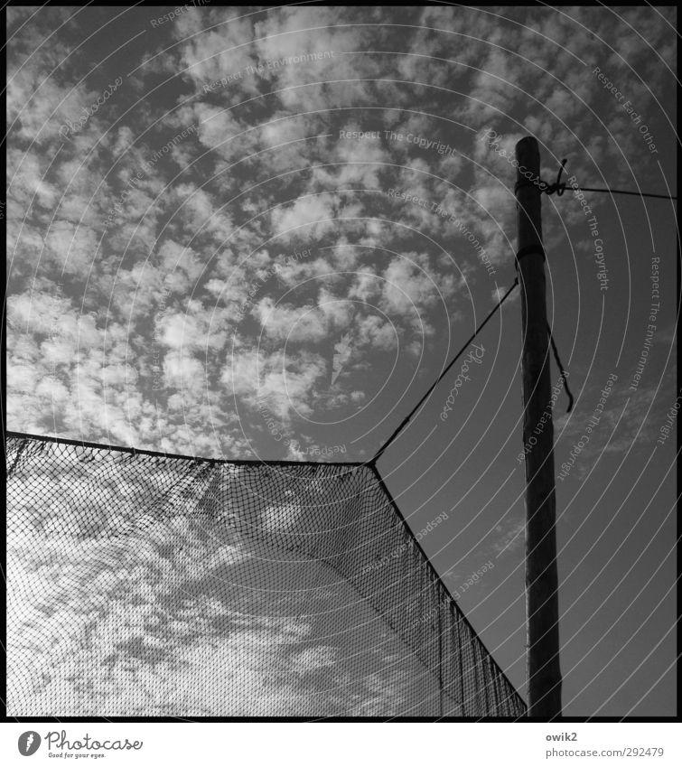 Hängematte Himmel Wolken Holz Seil fest Netz hängen trocknen Fischereiwirtschaft beweglich Befestigung netzartig Fischernetz Altokumulus floccus