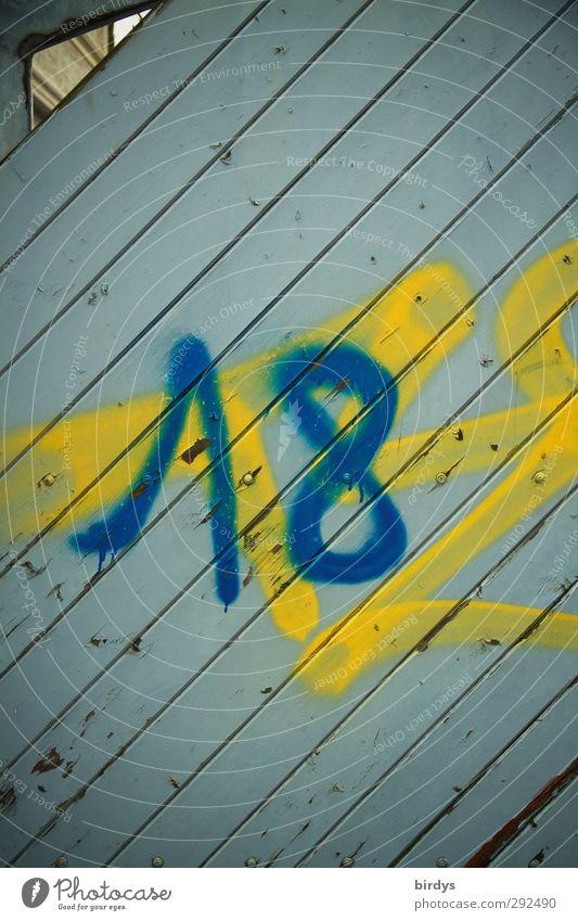endlich 18 Tür Ziffern & Zahlen authentisch trendy positiv trashig blau gelb Begeisterung Sehnsucht Senior Lebensfreude Zukunft Erwachsene wahlberechtigt