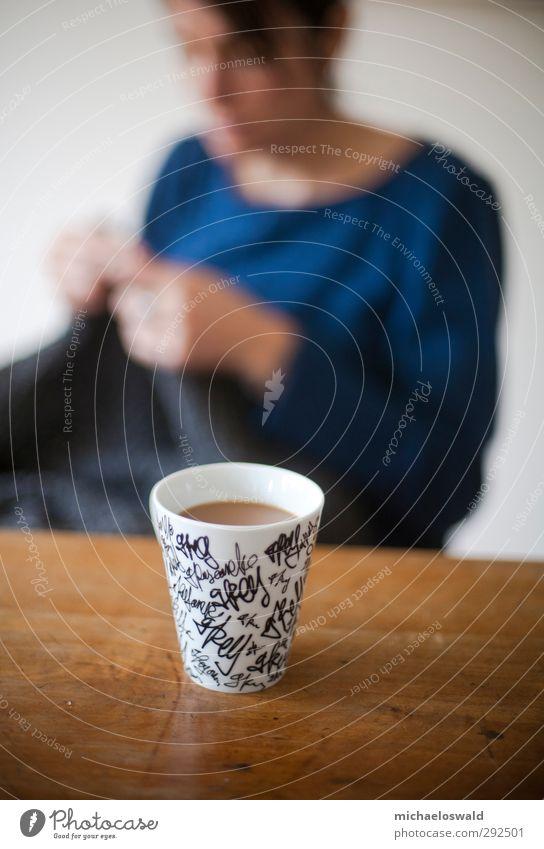 Tag-Mug Ernährung Frühstück Kaffeetrinken Getränk Heißgetränk Tasse Becher Design harmonisch Wohlgefühl Zufriedenheit Freizeit & Hobby stricken Häusliches Leben