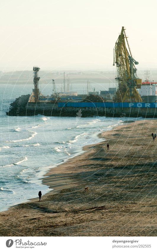 Gewerbliche Hafenkrane Meer Industrie Güterverkehr & Logistik Business Umwelt Hafenstadt Verkehr Containerschiff Wasserfahrzeug Arbeit & Erwerbstätigkeit