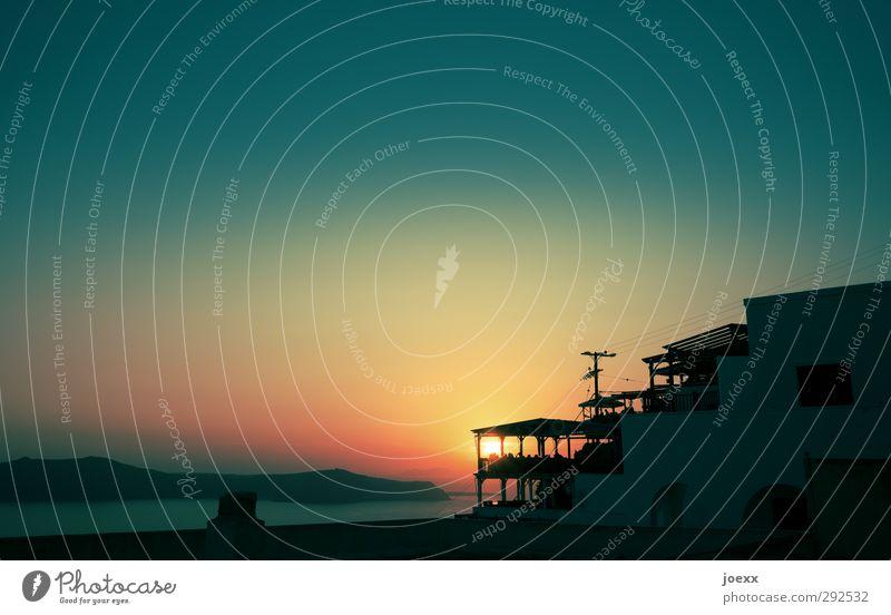 Cocktail Himmel blau Ferien & Urlaub & Reisen Wasser schön Sommer Sonne Meer ruhig schwarz Haus gelb Wärme Horizont Stimmung Insel