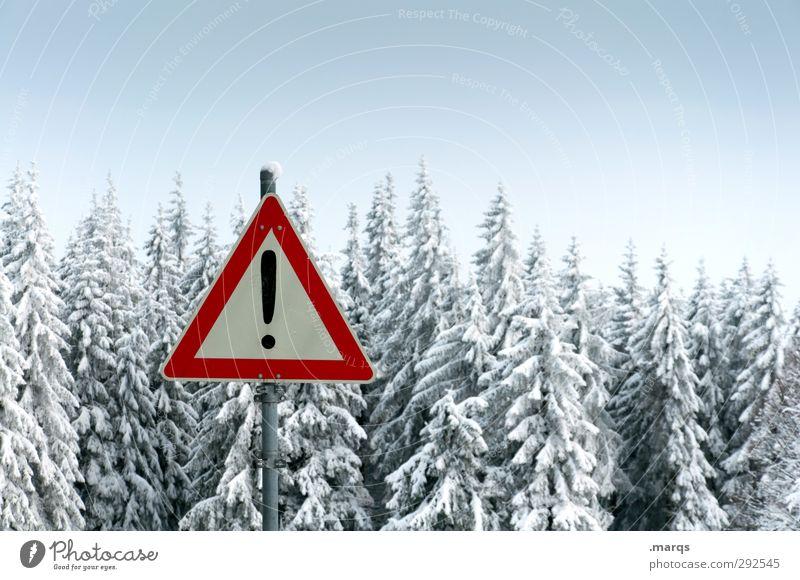 Achtung Winter! Ausflug Winterurlaub Umwelt Natur Landschaft Klima Eis Frost Schnee Wald Zeichen Schilder & Markierungen kalt Stimmung Warnung Ausrufezeichen