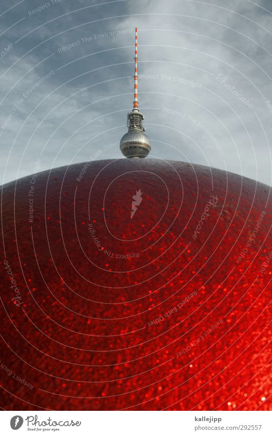 berliner Sehenswürdigkeit rot Fernsehturm Berlin Berliner Fernsehturm Berlin-Mitte Kugel Farbfoto mehrfarbig Außenaufnahme Nahaufnahme Menschenleer