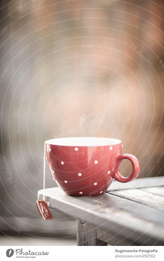 Teatime Lebensmittel Getränk Heißgetränk Tee Geschirr Tasse Gesundheit Tisch Erholung genießen trinken heiß feminin ruhig rot Punkt Farbfoto Außenaufnahme Tag