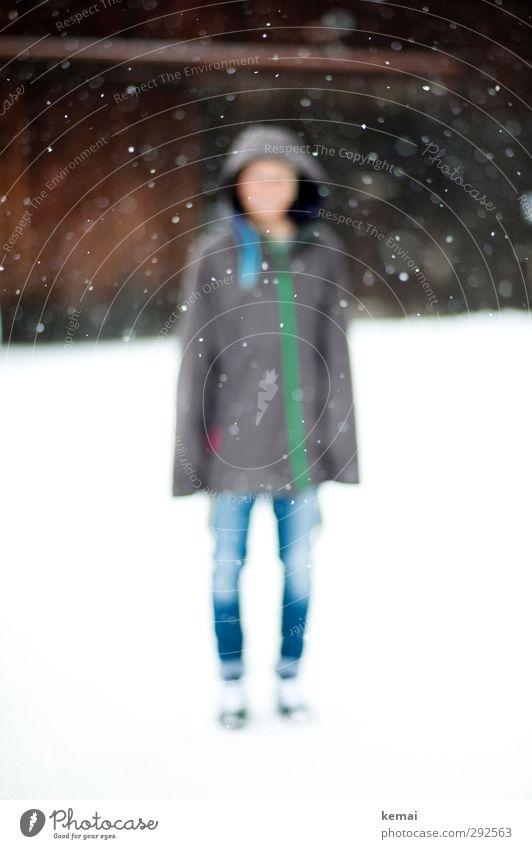 Strich in der Schneelandschaft Mensch Jugendliche Winter Junge Frau Erwachsene Umwelt Leben feminin 18-30 Jahre Stil Beine hell Schneefall Eis Körper