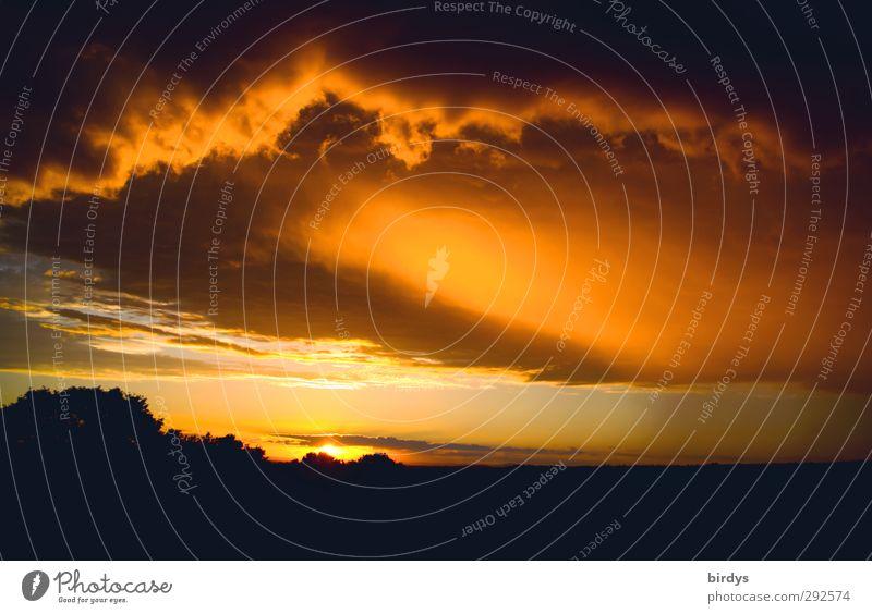 mißglückter Unterlassungsversuch Urelemente Gewitterwolken Horizont Sonne Sonnenlicht Sommer leuchten ästhetisch außergewöhnlich bedrohlich fantastisch Wärme