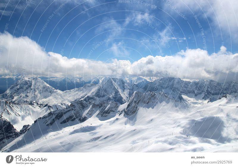Alpenpanorama Ferien & Urlaub & Reisen Abenteuer Ferne Freiheit Winter Berge u. Gebirge Umwelt Natur Urelemente Himmel Wolken Sonne Klima Wetter Schönes Wetter