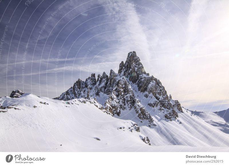 Dem Berg so nah Himmel blau Ferien & Urlaub & Reisen weiß Wolken Winter Landschaft schwarz Ferne Berge u. Gebirge Schnee Freiheit grau braun Felsen Eis