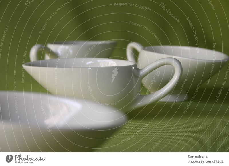Teetassen weiß grün Ernährung Geschirr Tasse