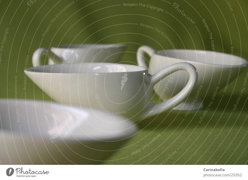Teetassen weiß grün Ernährung Geschirr Tasse Teetasse