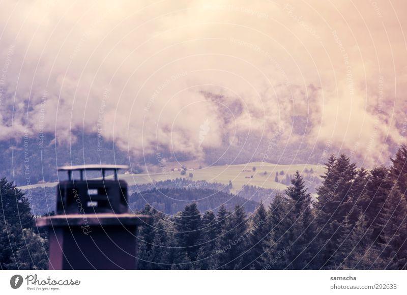 Herbstwetter Umwelt Natur Landschaft Wolken Gewitterwolken Klima Wetter schlechtes Wetter Nebel Hügel Dorf Schornstein bedrohlich dunkel kalt nass natürlich