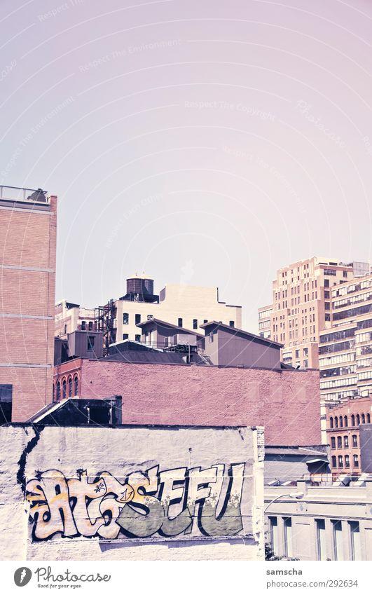 NYC Ferien & Urlaub & Reisen alt Stadt Haus Graffiti Wand Mauer Gebäude Stein groß Stadtleben Beton Abenteuer Bauwerk Amerika Sightseeing