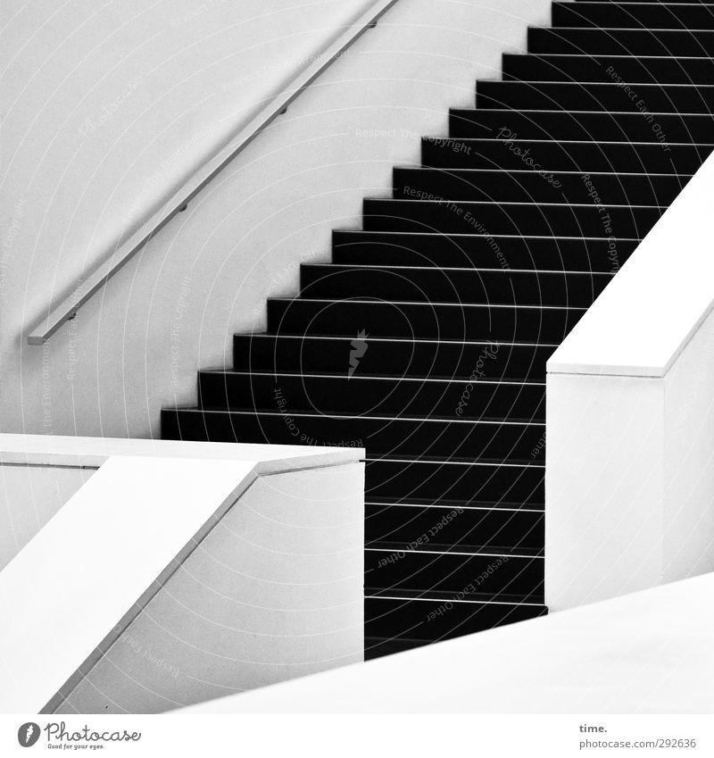 Angewandte Mathematik Innenarchitektur Treppenhaus Treppengeländer Mauer Wand ästhetisch sportlich elegant modern grau schwarz weiß Zufriedenheit Genauigkeit