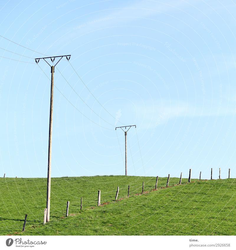 Geschichten vom Zaun (XIX) Himmel Natur Landschaft Holz Umwelt Wiese Horizont Linie Kommunizieren Energiewirtschaft Technik & Technologie Kreativität