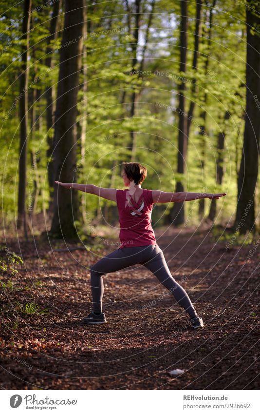 Frau macht Yoga im Wald Zentralperspektive Schwache Tiefenschärfe Unschärfe Sonnenlicht Silhouette Abend Tag Außenaufnahme Farbfoto Lebensfreude natürlich