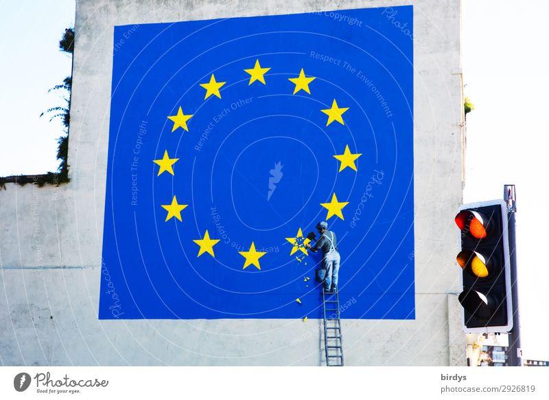 wird`s noch was ? Dover England Ampel Leiter Zeichen Verkehrszeichen Graffiti Eurozeichen Europafahne Stern (Symbol) Arbeit & Erwerbstätigkeit authentisch