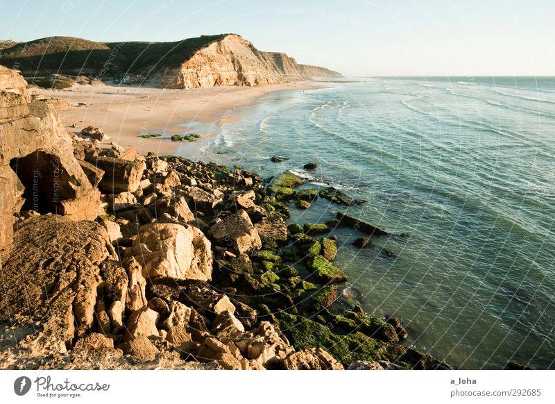 great sunshiny day Umwelt Natur Landschaft Pflanze Urelemente Erde Wasser Wolkenloser Himmel Horizont Sommer Schönes Wetter Felsen Wellen Küste Strand Meer blau