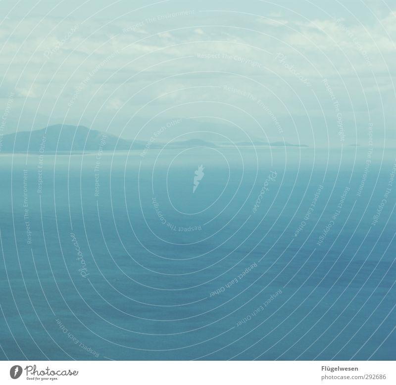 Wolken Berge Meer Natur Ferien & Urlaub & Reisen Sommer Landschaft Umwelt Ferne Traurigkeit Küste Regen Wetter Wellen Wind Klima Nebel