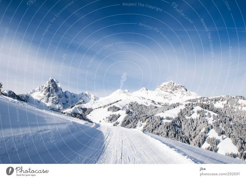 Saaner Bergwelt Natur blau weiß Erholung Landschaft ruhig Winter Wald Berge u. Gebirge Wege & Pfade Schnee Felsen Tourismus authentisch genießen Ausflug