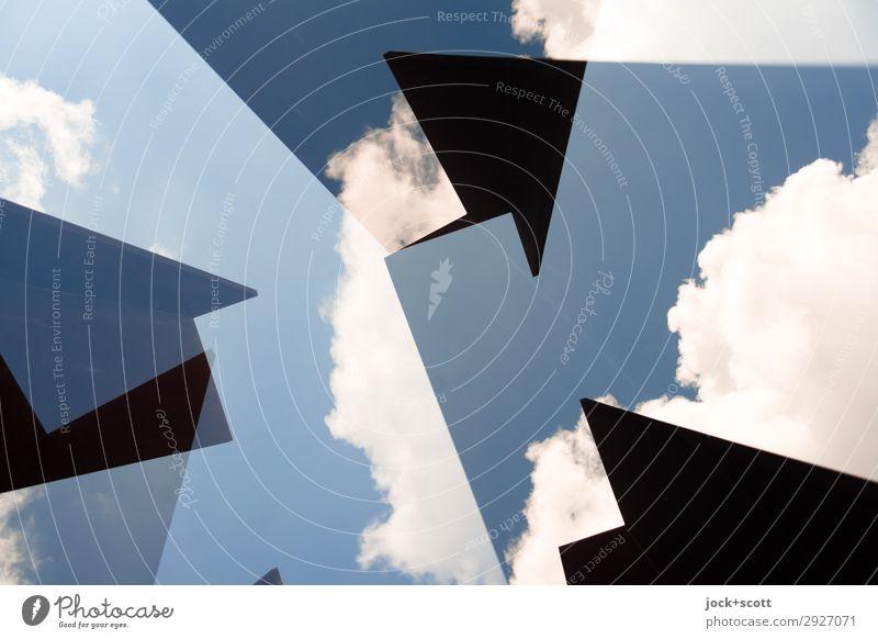Geometrie in den Wolken Kunst Himmel Schönes Wetter Pfeil Strukturen & Formen Ecke außergewöhnlich eckig fantastisch frei modern oben blau Stimmung Kraft