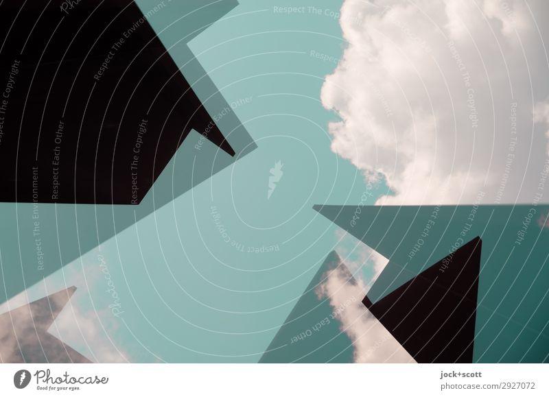 Geometrie mit Wolken Kunst Himmel Schönes Wetter Strukturen & Formen Ecke außergewöhnlich eckig fantastisch frei modern oben grün Stimmung Kraft achtsam