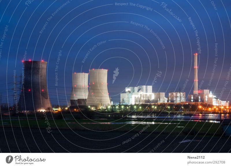 Night-view blau Umwelt dunkel Beleuchtung Business Energiewirtschaft Elektrizität Technik & Technologie Industrie Fabrik Arbeitsplatz Stromkraftwerke Nachtleben