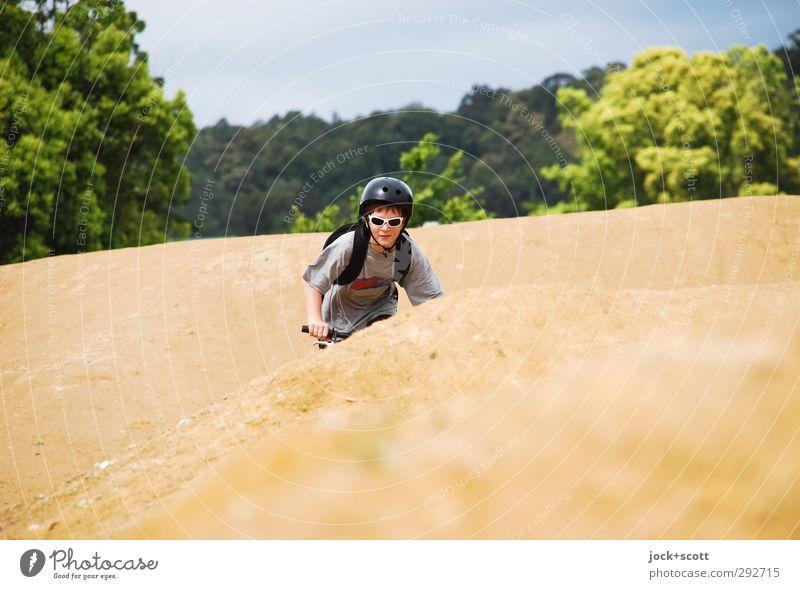 Down Under Freizeit & Hobby Fahrrad Fahrradfahren BMX Fahrradweg Junge 1 Mensch 8-13 Jahre Kind Kindheit Erde Wolkenloser Himmel Schönes Wetter Baum Queensland