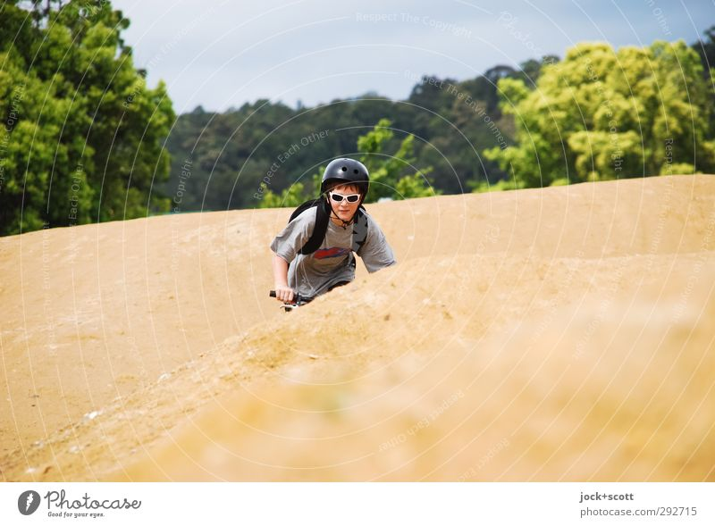 Down Under Mensch Kind Baum Freude Gesicht Junge Wege & Pfade Sport Sand maskulin Freizeit & Hobby Erde Fahrrad Kindheit Schönes Wetter Fahrradfahren