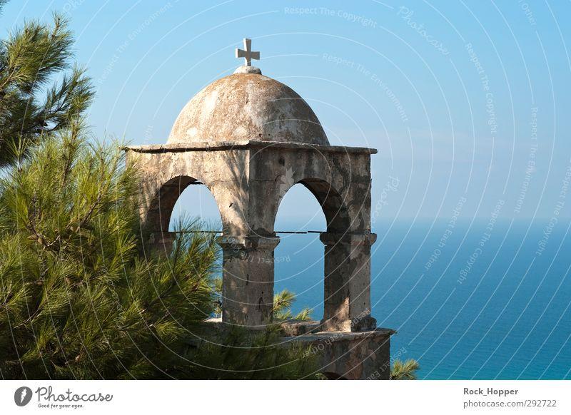 Kloster mit Meerblick ruhig Ferien & Urlaub & Reisen Ausflug Ferne Sommerurlaub wandern Architektur Natur Landschaft Pflanze Wasser Himmel Wolkenloser Himmel