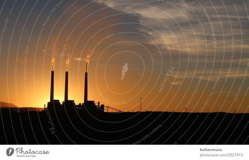 Industrielles MorgenGrauen Energiewirtschaft Fortschritt Zukunft Kohlekraftwerk Energiekrise Natur Landschaft Sonnenaufgang Sonnenuntergang Klima Klimawandel