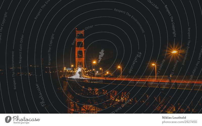 Golden Gate Nacht Lichtspuren Ferien & Urlaub & Reisen alt Stadt rot Straße Tourismus Verkehr USA Brücke hoch Sehenswürdigkeit Wahrzeichen Straßenbeleuchtung