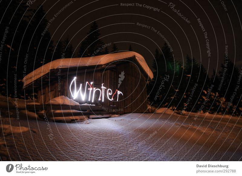 Winterzauber blau Ferien & Urlaub & Reisen weiß Baum Landschaft schwarz Wald Ferne Berge u. Gebirge Schnee Freiheit braun Eis wandern Schriftzeichen