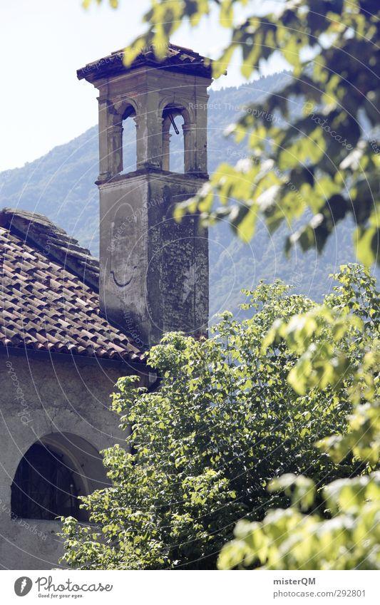 Frühstücksblick. Religion & Glaube Garten Kunst ästhetisch Turm Italien Dorf verträumt mediterran Kirchenglocke