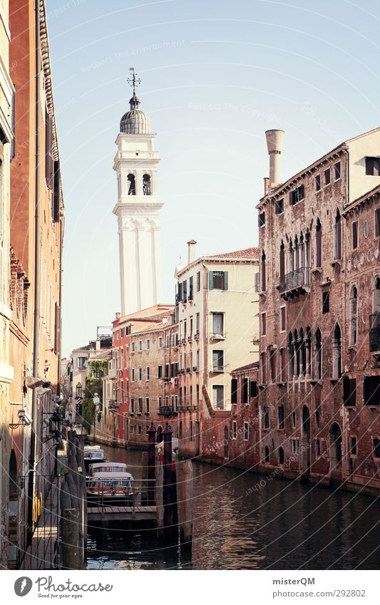 classic. Reisefotografie Kunst ästhetisch Turm Italien historisch eng Gasse Sehenswürdigkeit Venedig untergehen Kanal schmal Städtereise Berühmte Bauten