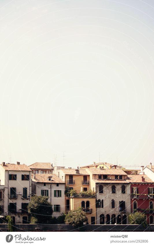 Veronas Haus. Kunst ästhetisch mediterran Häuserzeile Fassade verträumt Italien historisch alt Farbfoto Gedeckte Farben Außenaufnahme Detailaufnahme Experiment